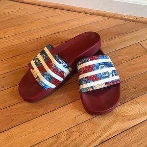 FARM Adilette Floral Striped Slide Sandal, Red 10